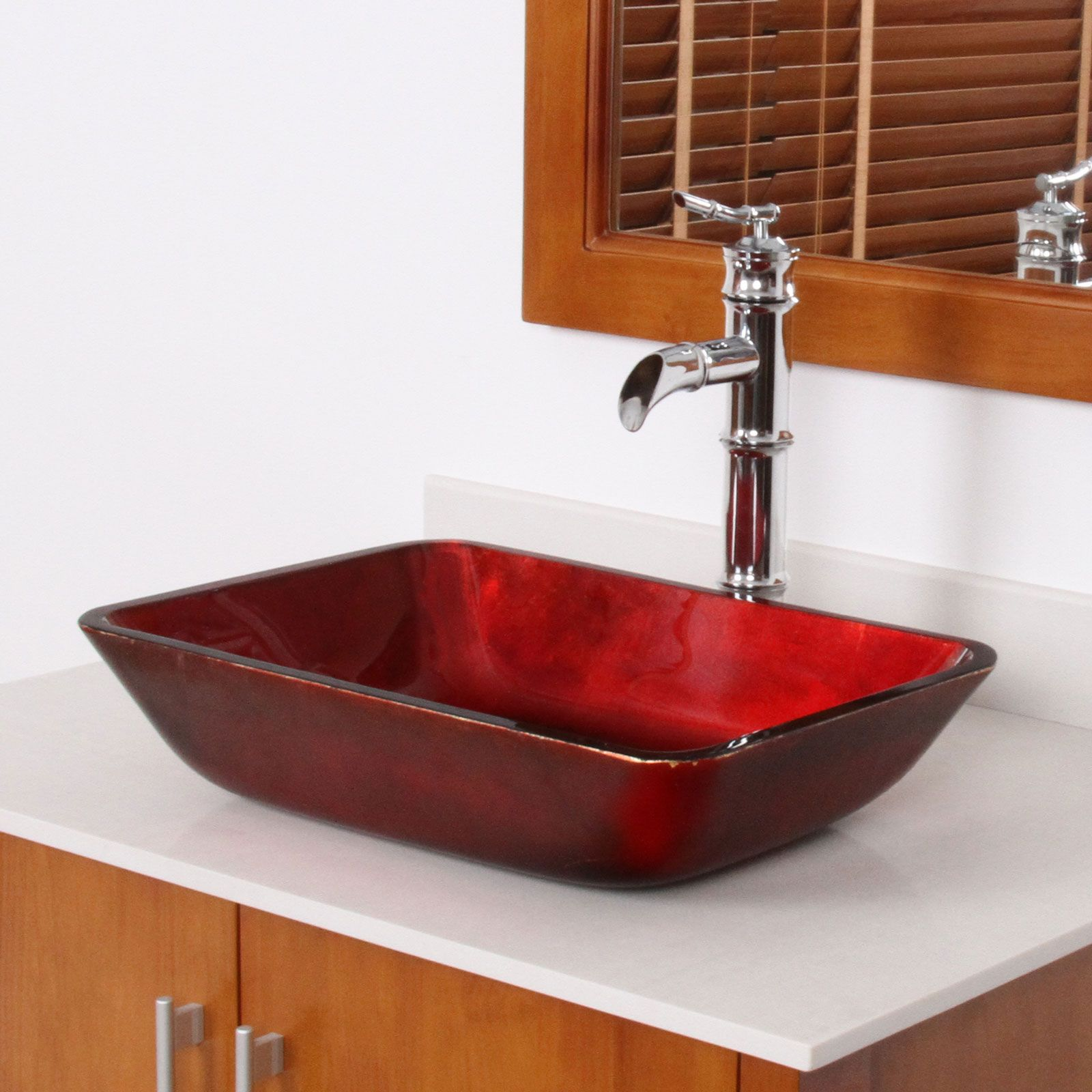 Vessel Kitchen Sink Elite 1410 rectangle mahogany tempered glass bathroom vessel sink elite 1410 rectangle mahogany tempered glass bathroom vessel sink bathroom sinks stone sinkkitchen workwithnaturefo
