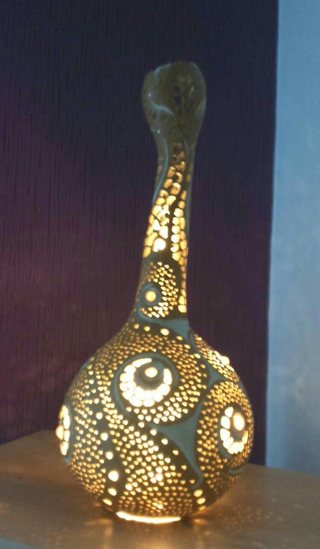 Kleine Flaschenkurbis Lampe Von Die Kurbiswerkstatt Flaschenkurbis Lampen Ideen