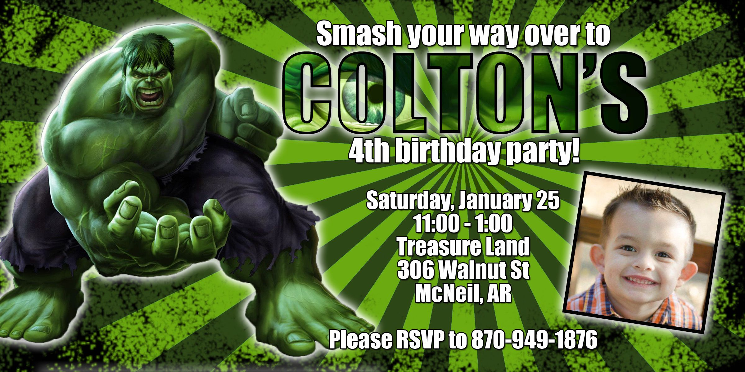 Hulk Birthday Party Invitation With
