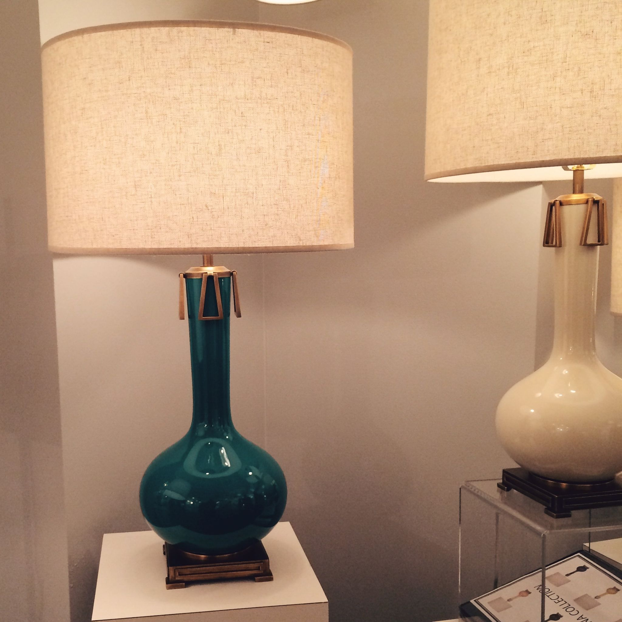The Robert Abbey Athena Table Lamp Features A Ceramic Gourd Base