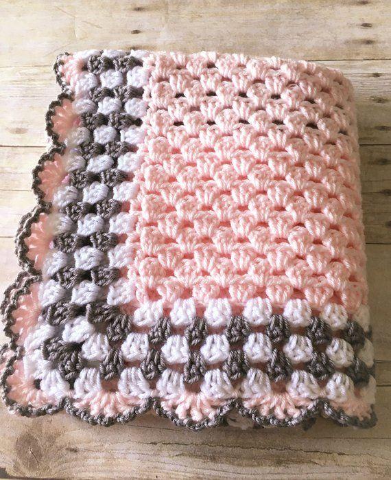 Pink Grey Baby Blanket, Pink Baby Blanket, Crochet