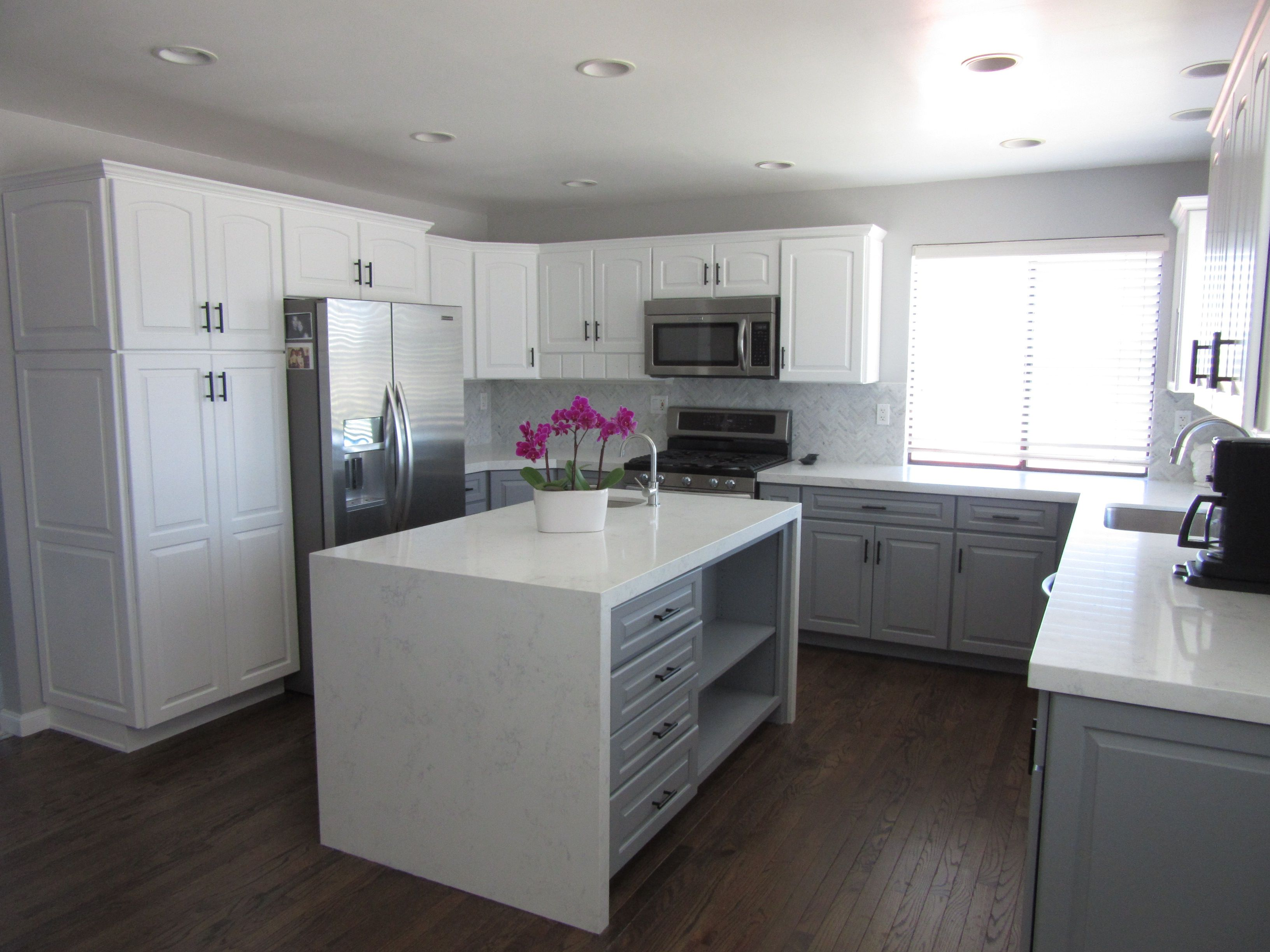 Our kitchen remodel with waterfall island and
