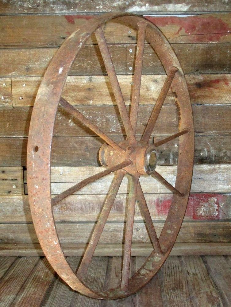 Large Antique 24 Cast Iron Implement Wheel Farm Wagon Cart Yard