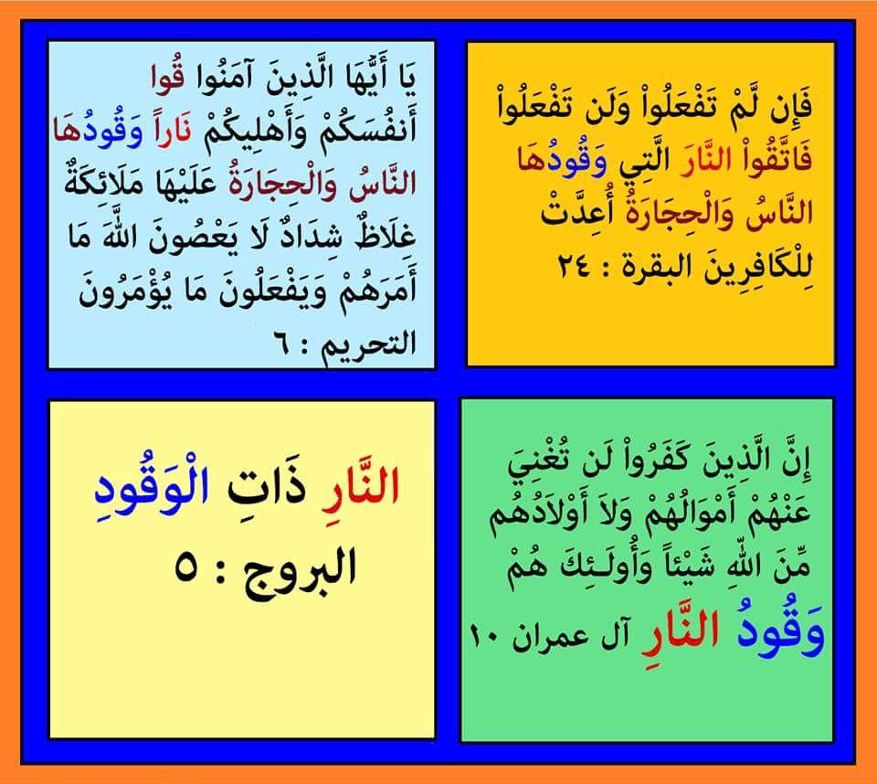 وقود ومشتقاتها ذكرت ٤ مرات فى القرآن فى البقرة وأل عمران والتحريم والبروج نلاحظ فى سورة البقرة والتحريم والبروج تقديم النا Quran Verses Holy Quran Verses