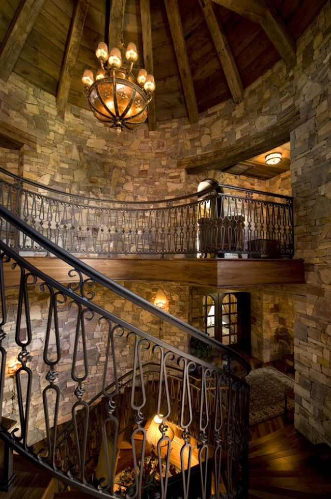 stone stairs iron railings interior - Google Search