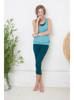 Bamboo Layered Bra Top In Seaweed And Sky Yoga And Pilates Wear
