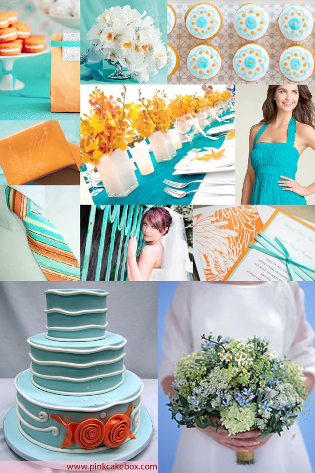 Cyan, Navy blue and orange wedding color scheme | Wedding themes ...