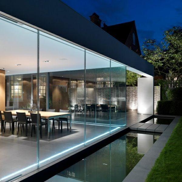 moderne gartengestaltung beispiele teich rasenfläche Architektur - moderne gartengestaltung mit pool