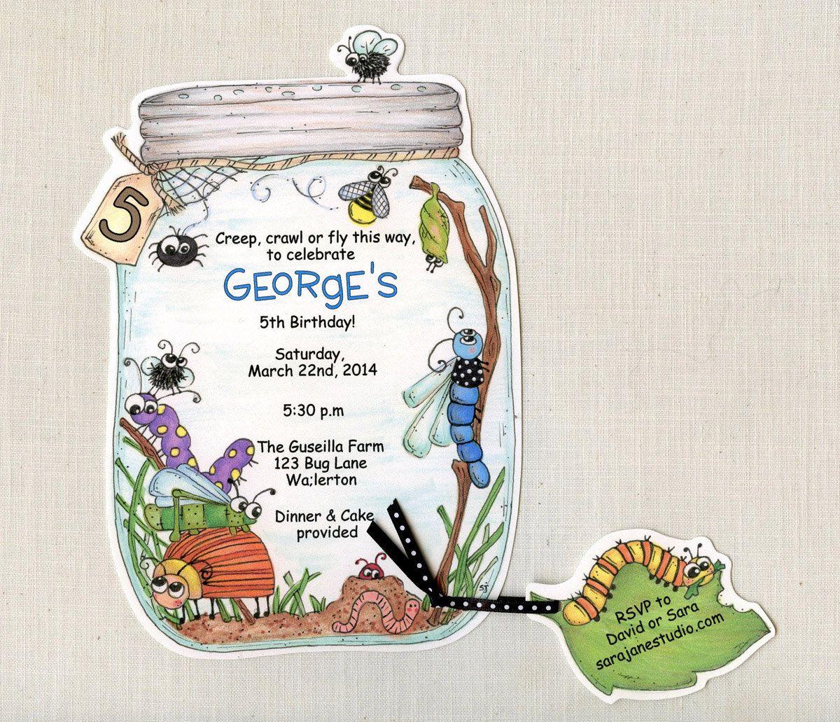10 Bug Jar Birthday Party Invitations | Summer Birthday Invite | Bug ...