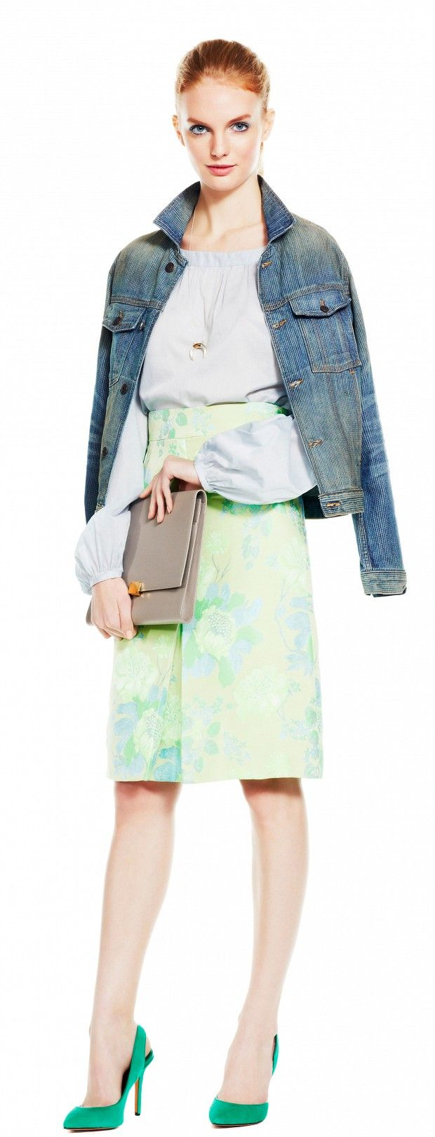 Green dress denim jacket  Mint Condition ombre mint skirt light blue blouse denim jacket