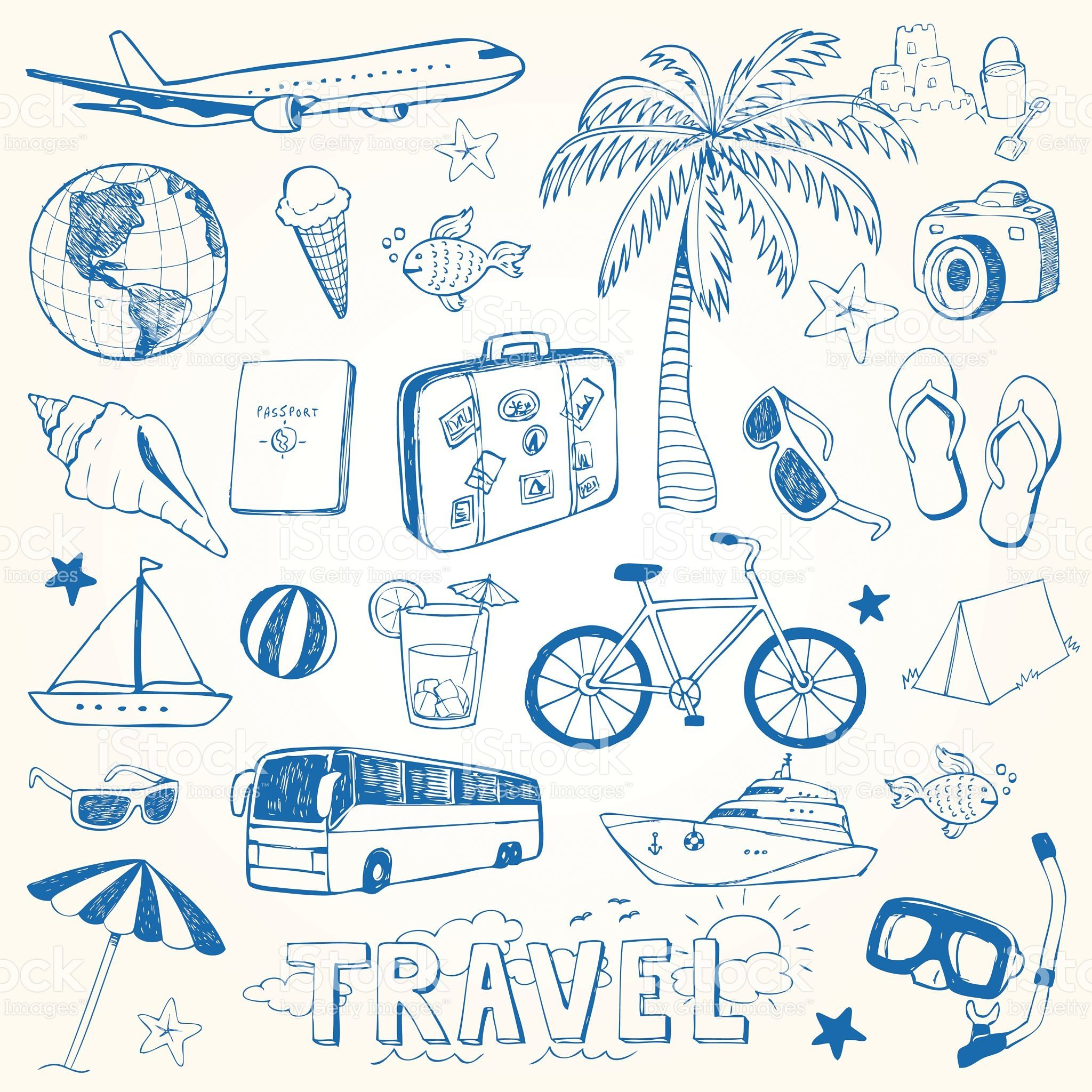 Hand drawn travel doodles vector illustration set is part of Hand Drawn Doodle Travel Set Vector Illustration - Hand drawn travel doodles vector illustration set