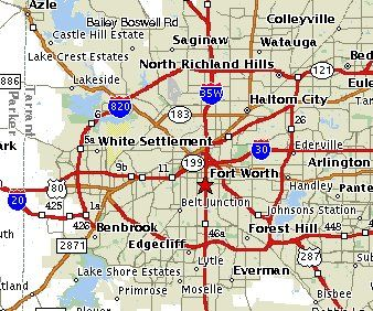 Map of Fort Worth with outlying suburbs. Notice 820 Freeway circles ...