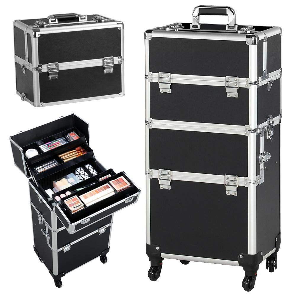Yaheetech Aluminum Rolling Makeup Case Salon Cosmetic