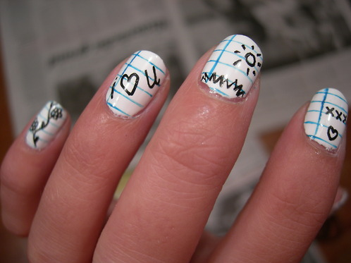 Notebook Paper Nails Cute