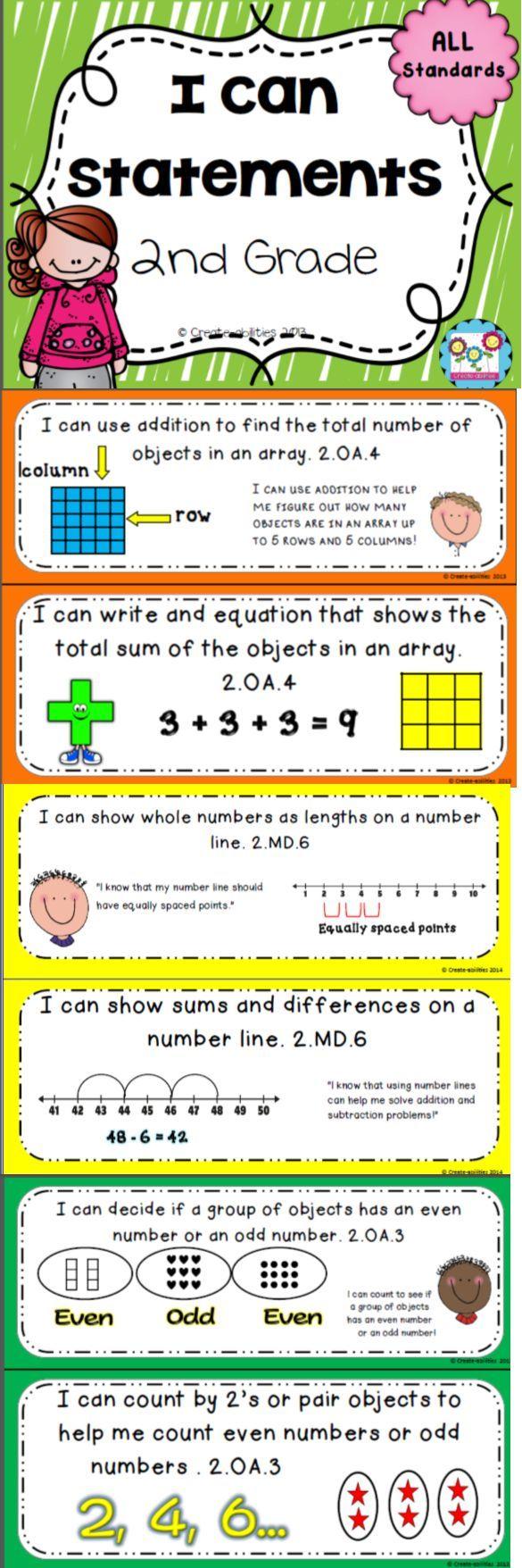 I Can Statements 2nd Grade Math 2nd Grade Pinterest 2nd