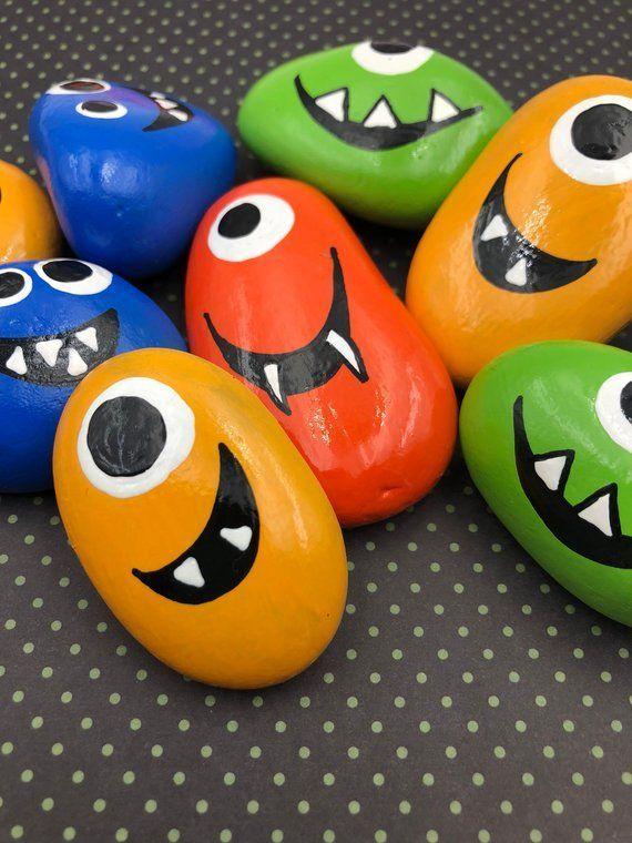 Silly Monster Pocket Rocks Set, Set of 4 Monster Worry Stones, Halloween Monster Rocks, Monster Comfort Stones, Monster Story Stones