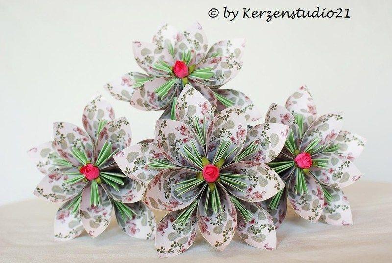 Wunderschönes Blüten-Stecker-Set aus Papier, auf Draht befestigt.    Hervorragend geeignet für Tisch- und Festtagsdekorationen, Trockengestecke uvm...