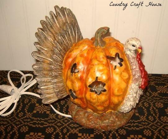 New Thanksgiving Fall PUMPKIN TURKEY LIGHT Statue Figurine Electric Lamp