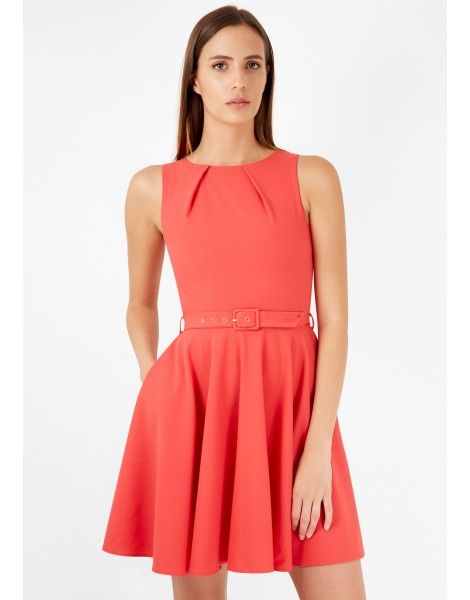 Closet Bloomsbury Coral Flared Belted Dress