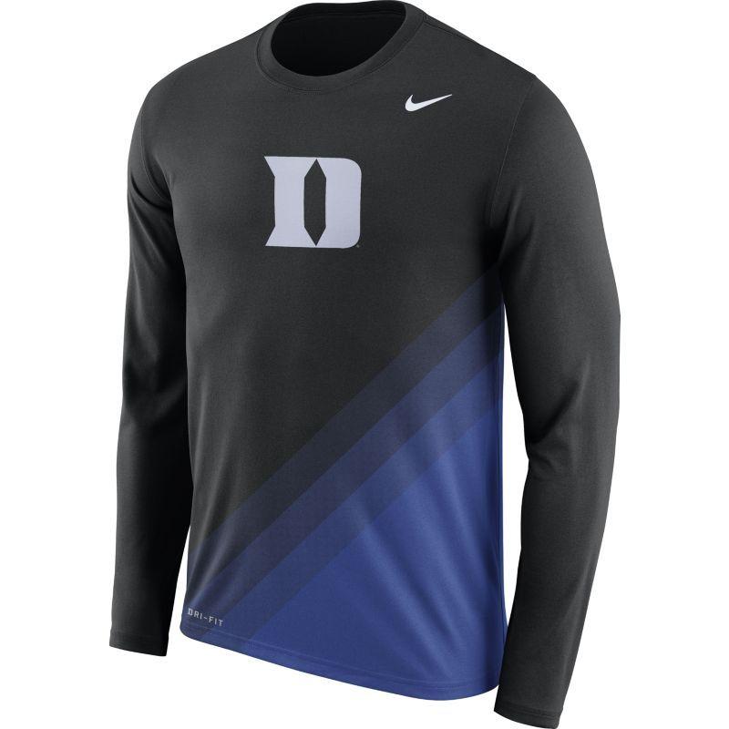 Nike Men's Duke Blue Devils Black/Duke Blue Football Sideline Dri-FIT Long  Sleeve