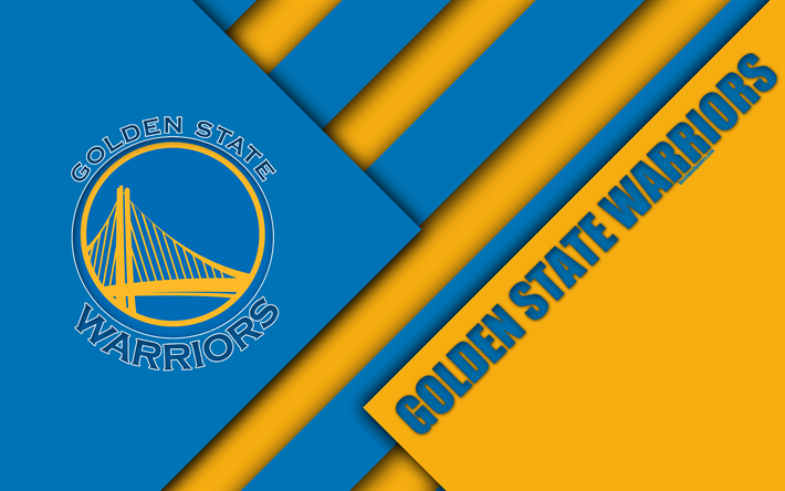 Download Wallpapers Golden State Warriors 4k Logo Yellow Blue Abstraction Material Design