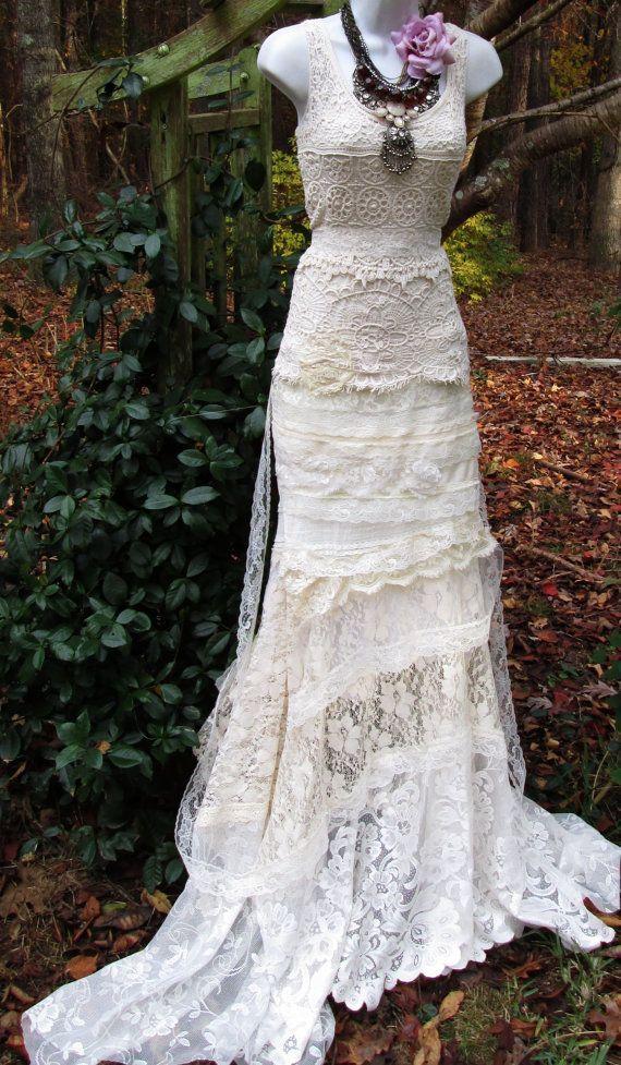 Vintage Crochet Wedding Dress | Cream wedding dress antique crochet ...
