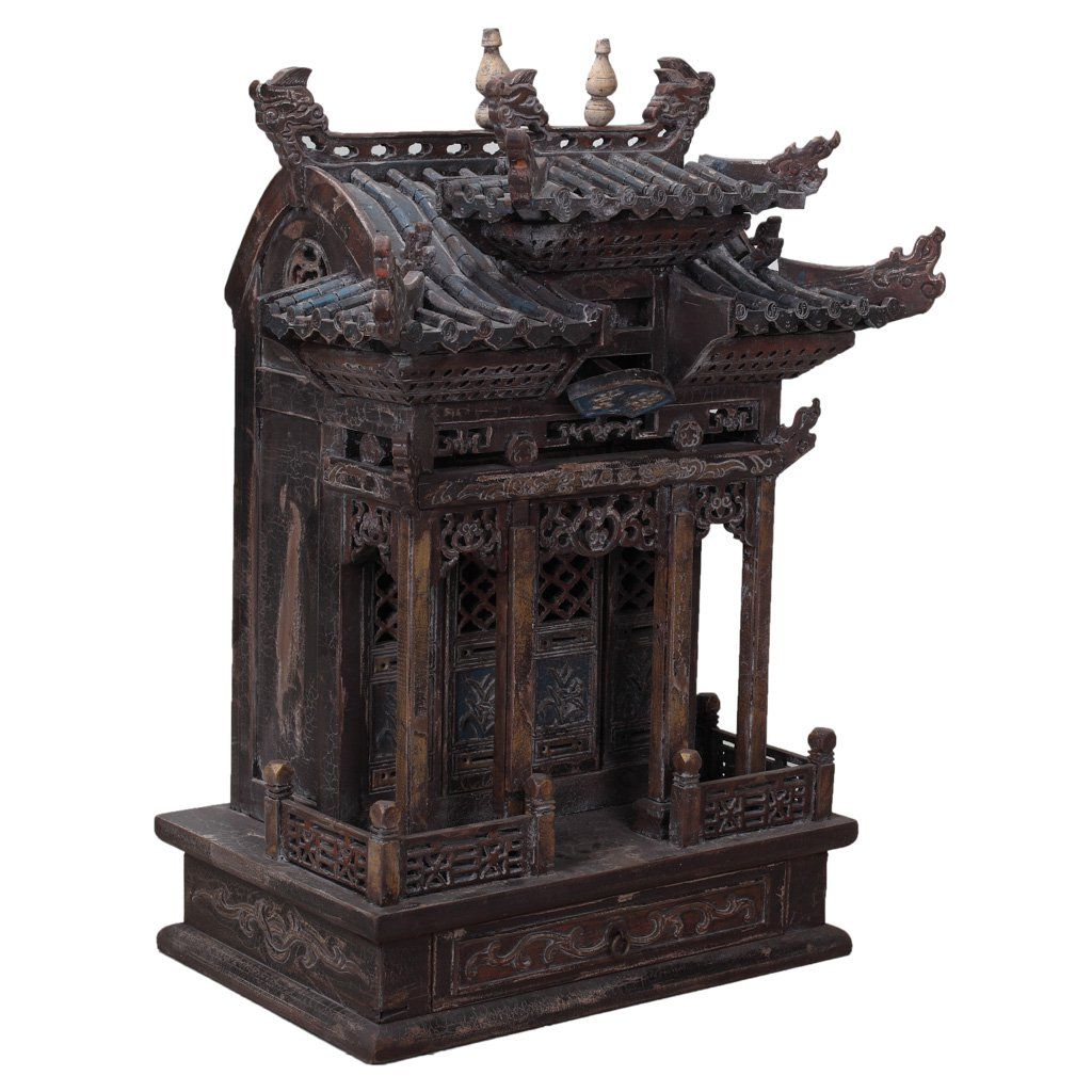 Antique Chinese Buddhist Shrine   A Stunning Antique Wooden Buddhist Shrine  Hand Carved In The Chinese Province Of Shanxi.