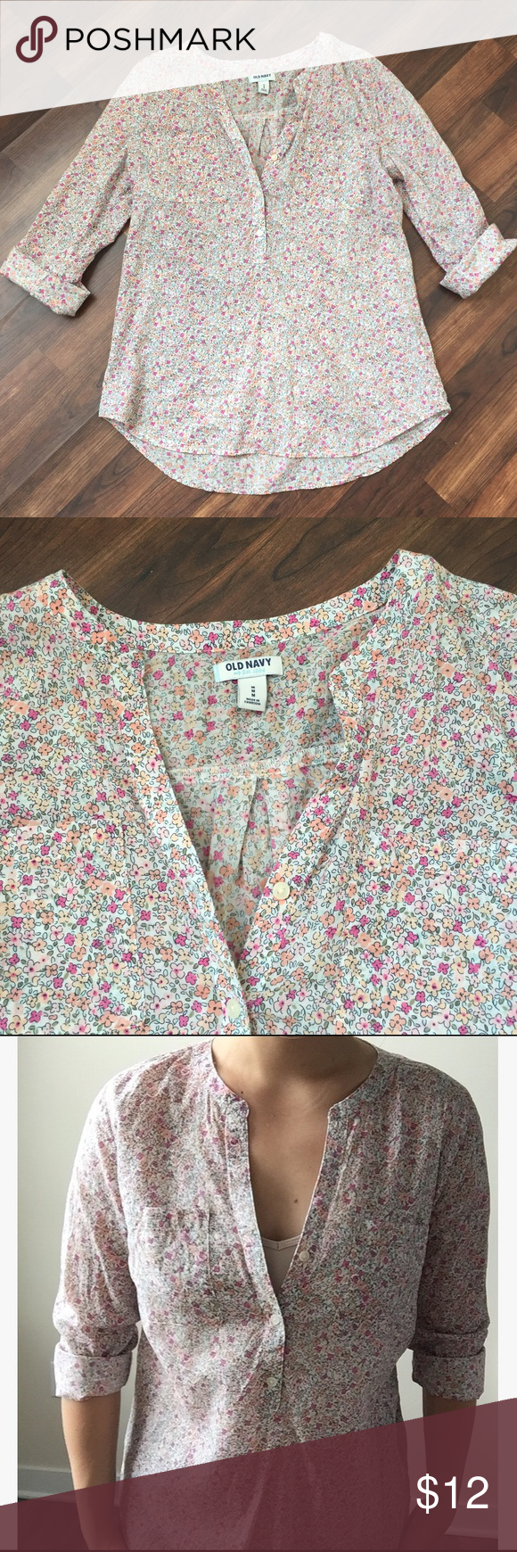 Long sleeved flower printed top Beautiful, sheer long sleeved half button down. Old Navy Tops Blouses