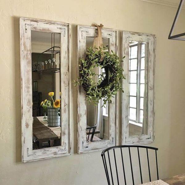 Photo of Triade von schmalen, weiß getünchten Spiegeln mit Eukalyptuskranz,  #Eukalyptuskranz #farmhou…