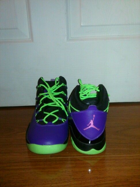 purple and lime green jordans
