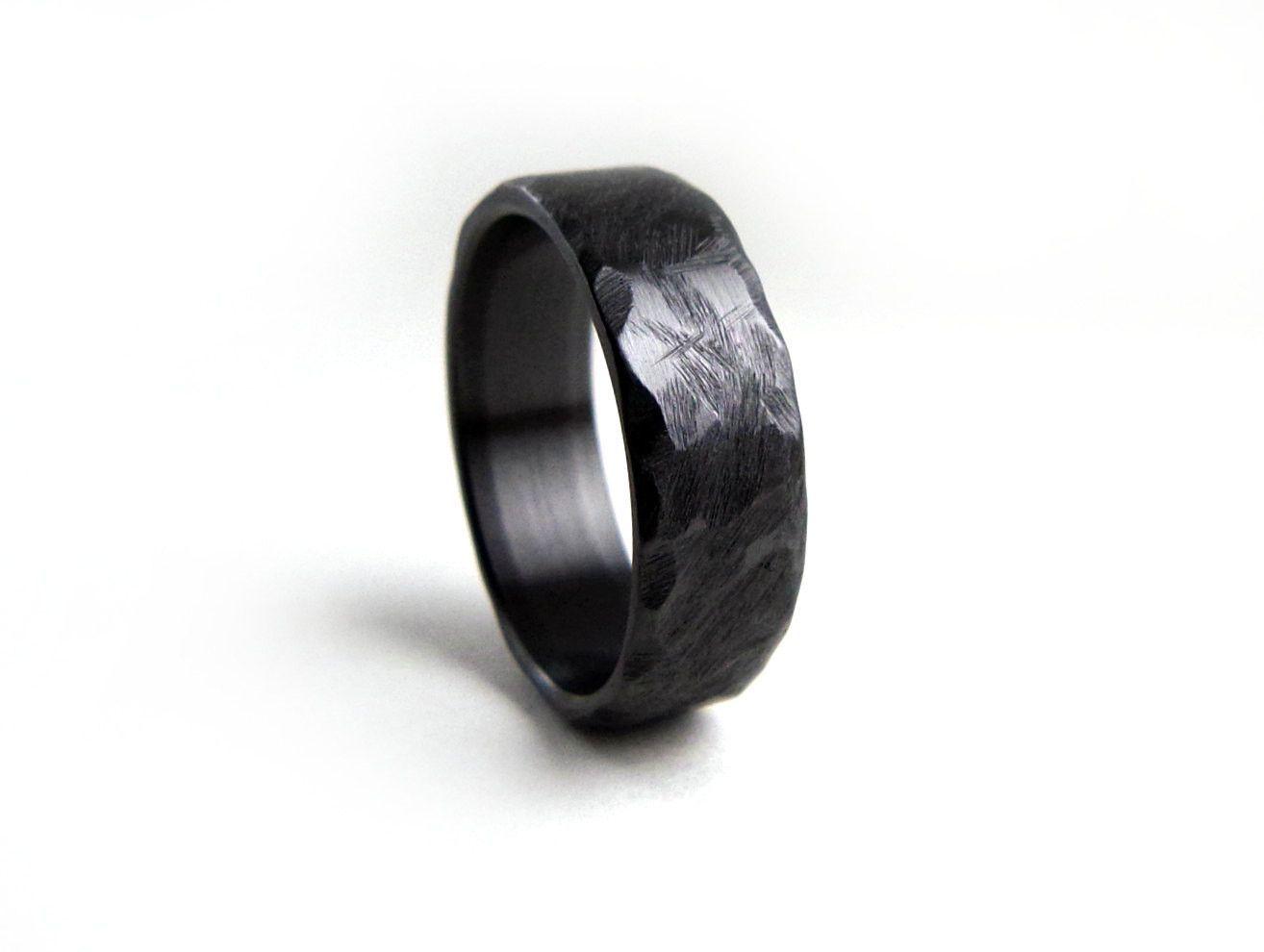 Black Wedding Band Hammered Ring Zirconium Engagement Men S Women Handmade