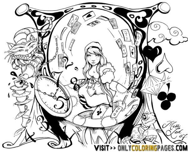 trippy alice in wonderland coloring pages   Adult Coloring ...