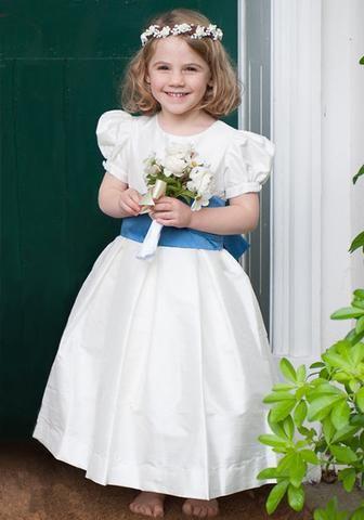 4e713eb358c Traditional ivory silk flower girl dress by Amelia Brennan with blue thai silk  sash
