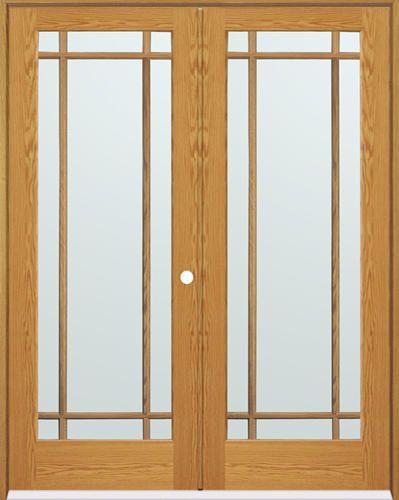 Mastercraft 48 x 80 oak prairie 9 lite prehung interior double door left inswing mbath to for Mastercraft prehung interior doors
