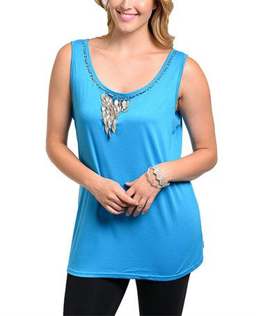 Loving this Blue Beaded Tank - Plus on #zulily! #zulilyfinds