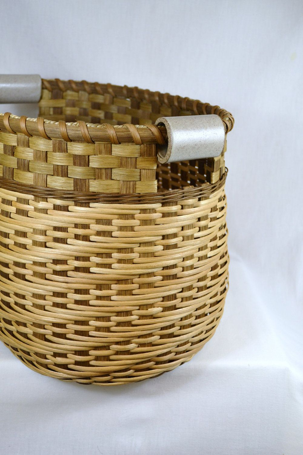 Large Reed Or Wicker Storage Basket With Twill Weave And Pottery Handles For Laundry Toys Yarn Basket Weaving Wicker Baskets Storage Bamboo Basket