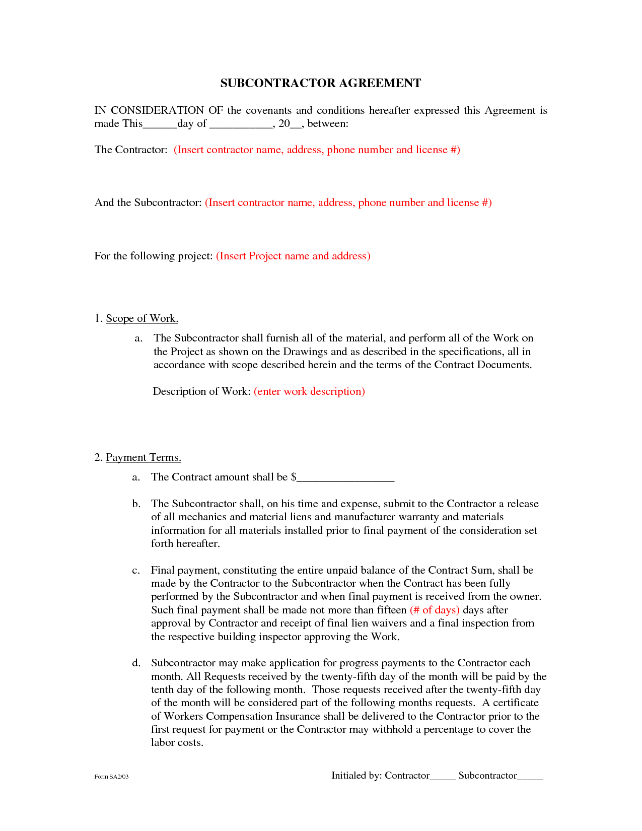 Subcontractor Agreement Template Selol Ink