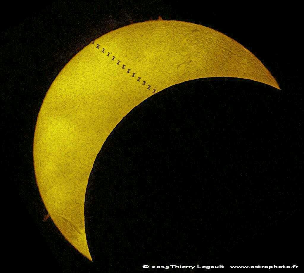International Space Station transit and partial solar eclipse captured at the same time. Incredible image and even more incredible luck for these events to occur simultaneously