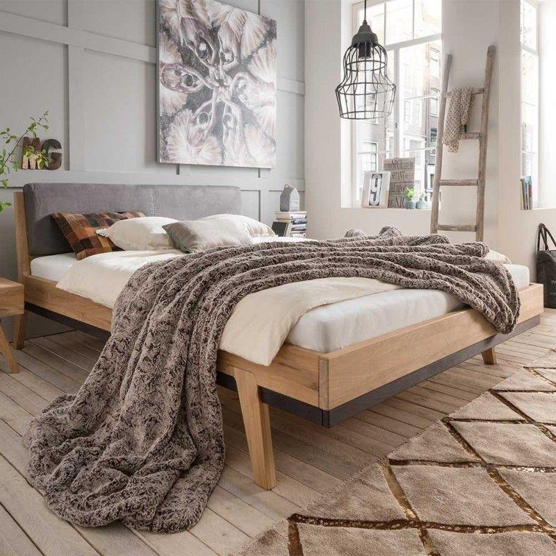 Wildeiche Holzbett Mit Polster Kopfteil Elscura In 2019 Schlafzimmer Design Schlafzimmer Ideen Minimalistisch Und Bett Mobel