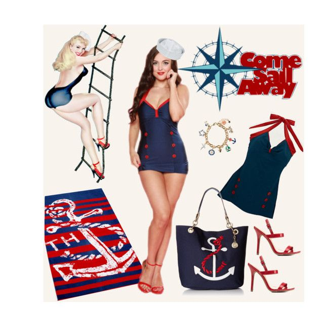 """""""Come Sail Away PinUp"""" by modern-grease on Polyvore featuring Esther Williams, Accessorize, Charlotte Russe, Tommy Hilfiger and vintage"""