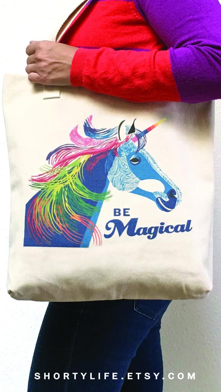 Unicorn bag magical unicorn rainbow unicorn cute tote bags girls