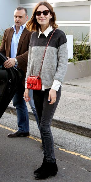 angora sweater + black skinny jeans + red quilted chanel purse + black suede ankle boots