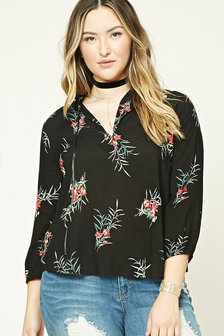 Forever 21+ - A woven top featuring an allover floral print, a high neckline with a ruffled trim and a self-tie, a front keyhole cutout, 3/4 sleeves with elasticized cuffs, and a flowy silhouette.