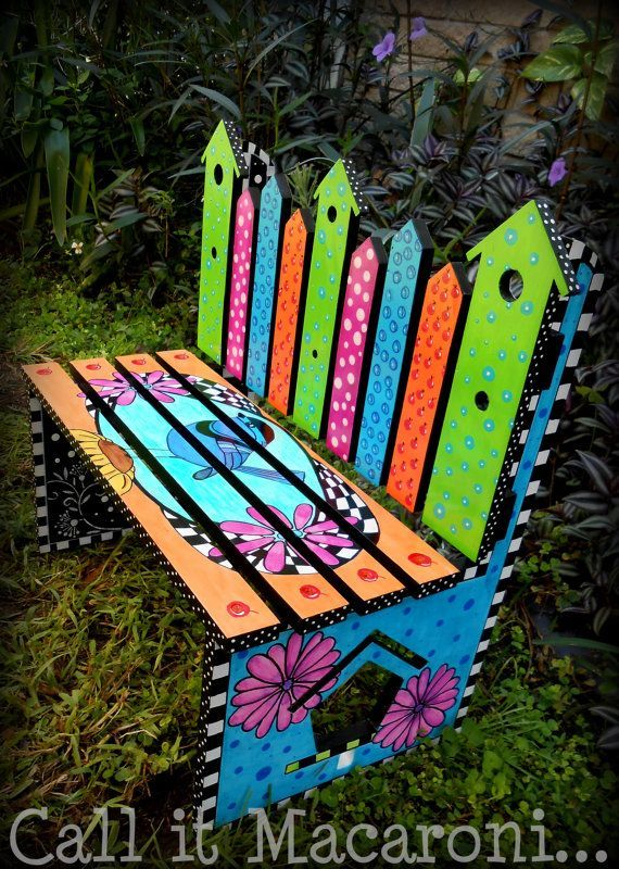 Painted Bench Ideas Part - 27: Whimsical Bird House Bench, Whimsy Bench, Childrenu0027s Bench, Garden Bench,  Colorful Hand Painted Kidsu0027 Park Bench, Bird, Flowers