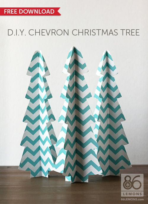 Printable Chevron Christmas Tree Template From HttpLemonsCom