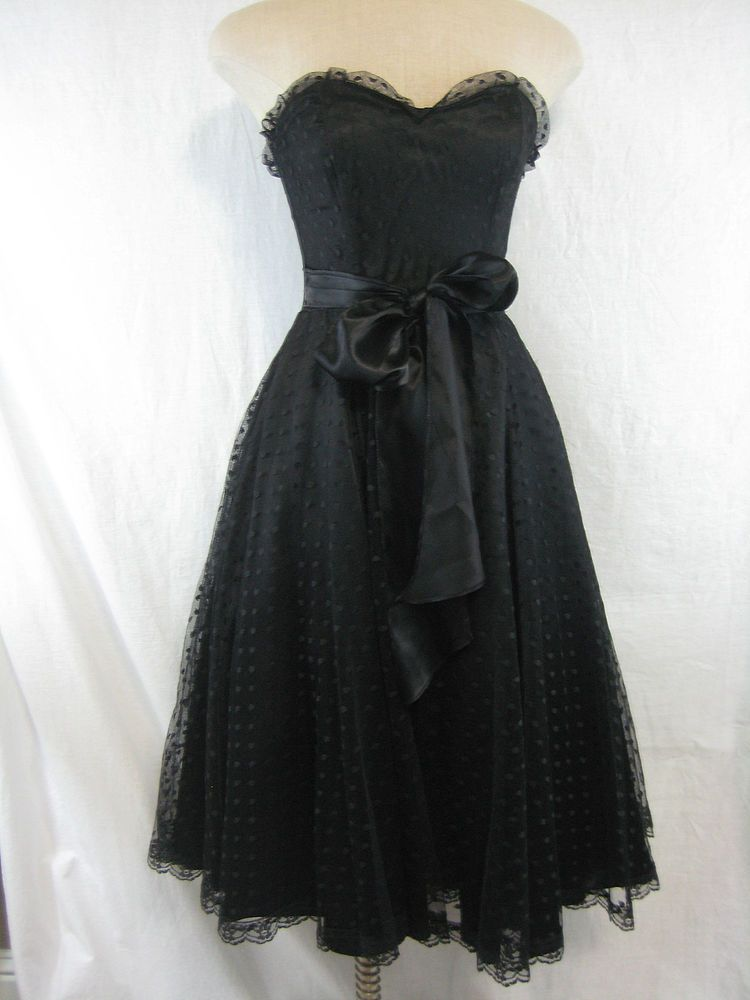 379559182d Vintage 80s Gunne Sax Jessica McClintock Dress Size 7 Black Strapless   GunneSax  BallGown  LittleBlackDress