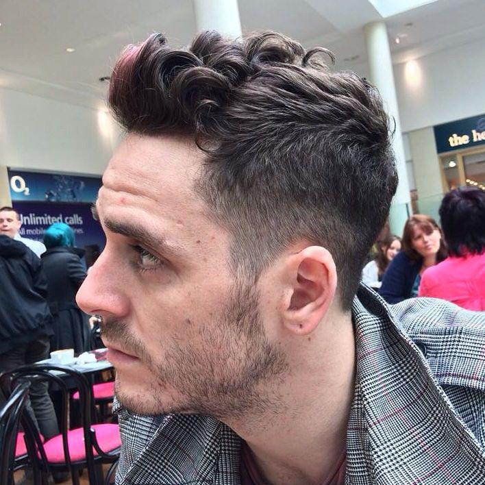 men dark brown black purple fringe shaved fade gent curly