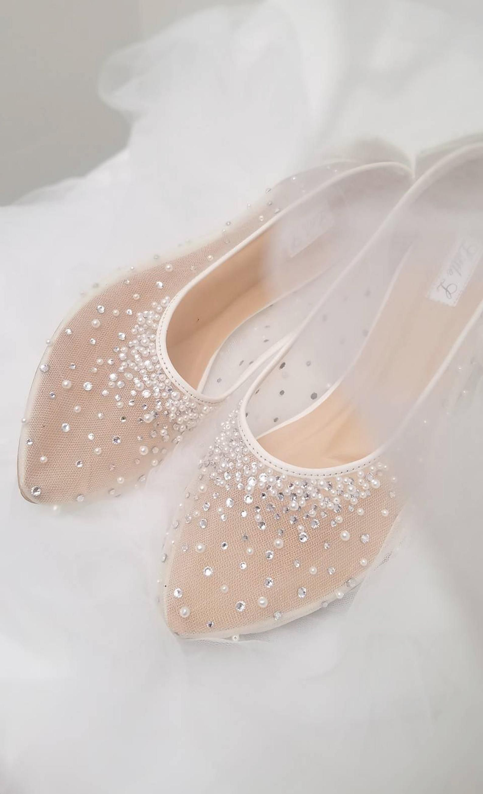 Wedding Shoes Transparent White Lace Pearl Rhinestone Ivory Etsy In 2020 Wedding Shoes Lace Wedding Shoes Sandals Wedding Shoes Heels