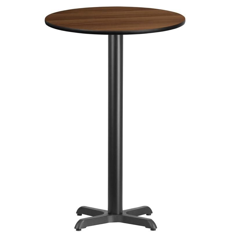 Round Bar Table With Walnut Top And X Base Table Top Sizes 24 30 36 42 Laminate Table Top Bar Height Table Walnut Dining Table