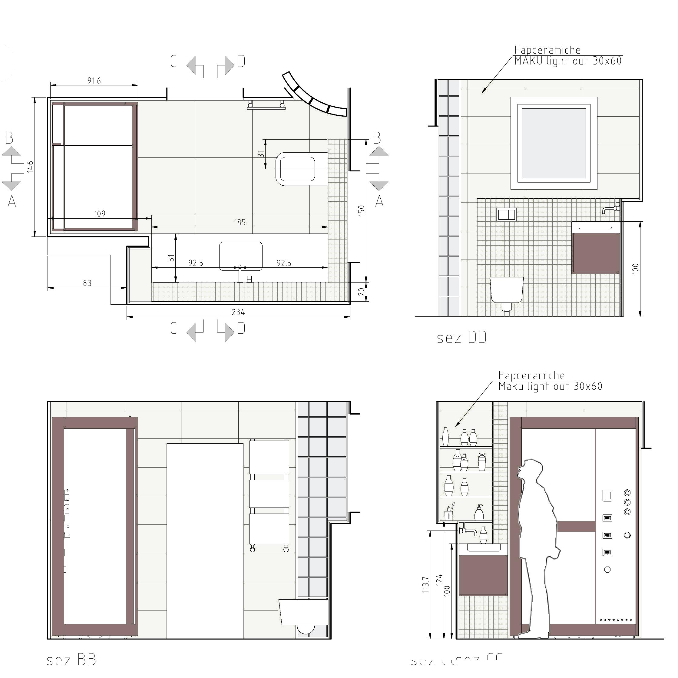 disegno esecutivo bagno Interior design presentation